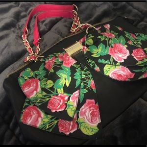 Betsey Johnson Black and Pink Floral Bow Bag